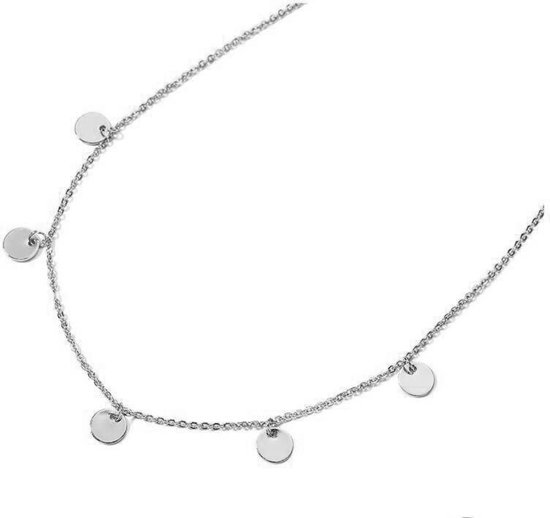 Lovelymusthaves Ketting Coins Muntjes Dichte Platte Rondjes - Dames - Bijou Legering - Zilverkleurig - 45 cm