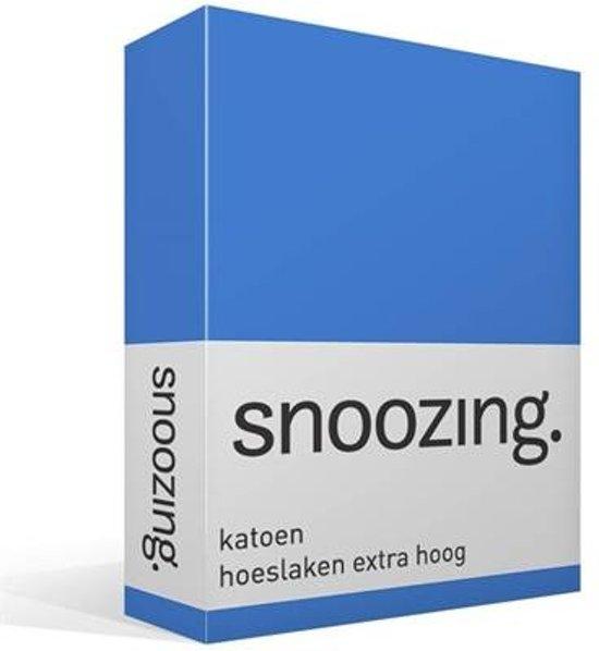 Snoozing - Katoen - Extra Hoog - Hoeslaken - Eenpersoons - 100x200 cm - Meermin