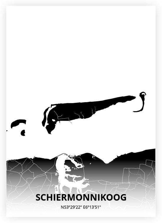 Schiermonnikoog plattegrond - A3 poster - Zwarte stijl