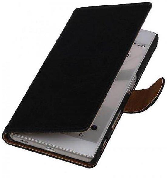 Mobieletelefoonhoesje.nl - HTC One E8 Hoesje Washed Leer Bookstyle Zwart in Adorp