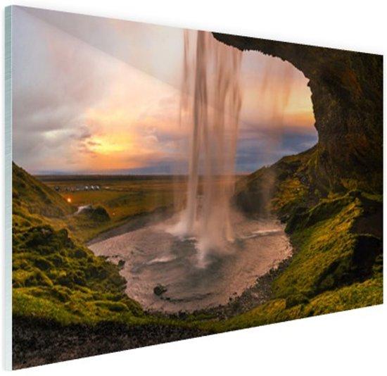 Waterval in IJsland Glas 30x20 cm - klein - Foto print op Glas (Plexiglas wanddecoratie)