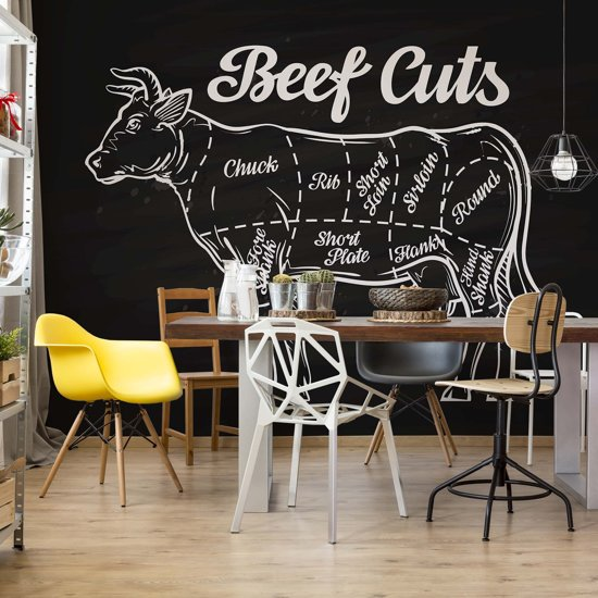 Fotobehang Retro Poster Beef Cuts | V4 - 254cm x 184cm | 130gr/m2 Vlies