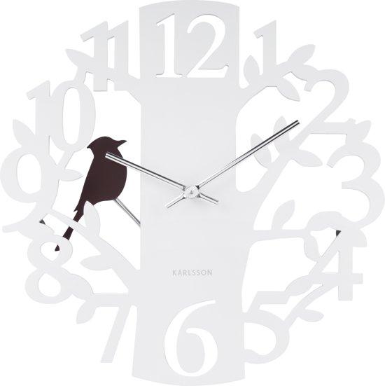 Karlsson Woodpecker - Wandklok - MDF - Ø40cm - Wit