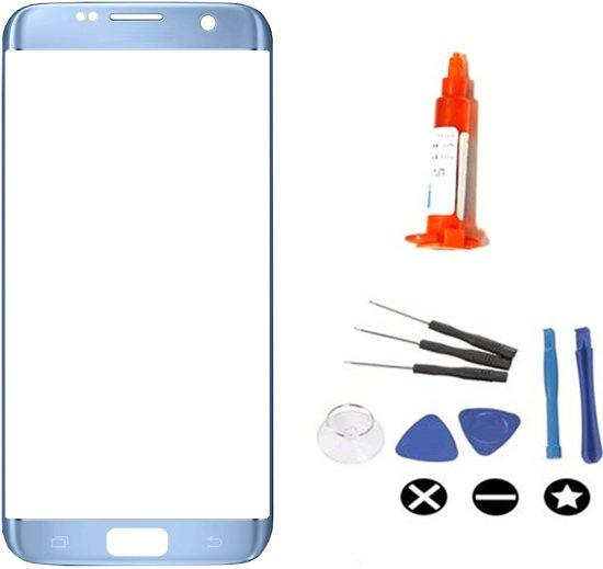 Voor Samsung Galaxy S7 Edge vervangglas + loca lijm - blauw