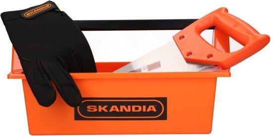 Skandia Gereedschap set - handzaag en werkhandschoen in draagbak - 3-delig