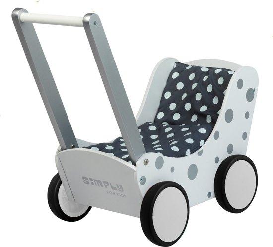 Poppenwagen zilver stip Simply for Kids 60x32x55 cm