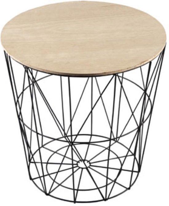 Loods 9 witte bijzettafel sidetable opbergmand rond van metaal en houten deksel 30 cm - Houten keuken en metaal ...
