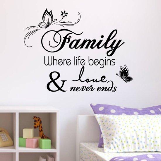 muursticker tekst family life love slaapkamer woonkamer modern decoratie tekststicker