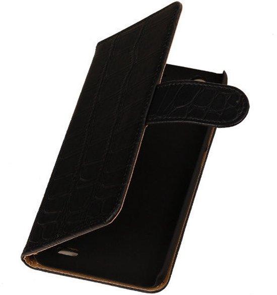 MP Case Bookcase Flip Wallet Cover Hoesje Huawei Ascend G630 Zwart Krokodillenprint in Hélécine