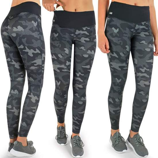 Formbelt Womens Running Tights Long/Workout Pants/Sports Leggings with Integrated Running Belt for Smartphone Keys | Fitness Yoga Cycling Outdoor Gym | High Waist Stretch Comfy Compression (Camouflage, M)