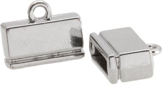 Eindkapje (Binnenmaat 10.5 x 2.4 mm) Antiek Zilver (4 Stuks)