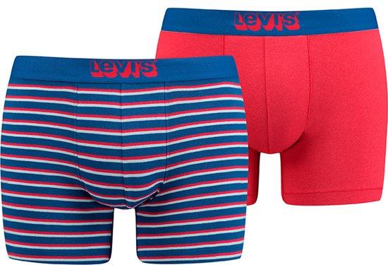 Levis - Heren 2-Pack Vintage Stripe Brief Boxershorts Blauw Rood - XXL