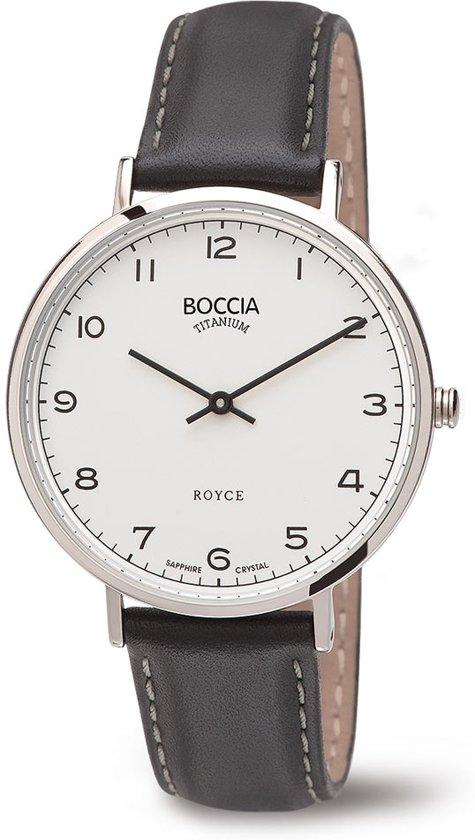 Boccia Titanium 3590-04 Horloge - Leer - Grijs - 36 mm