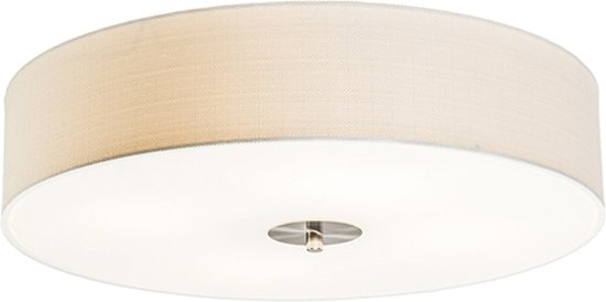 QAZQA Drum 50 - Plafondlamp met lampenkap - 4 Lichts - Ø50 cm - wit
