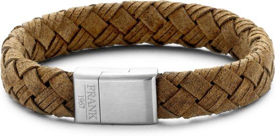 Frank 1967 7FB-0201 - Heren armband met staal element - geweven leer - lengte 21 cm - bruin