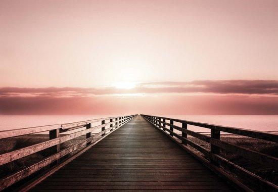 Fotobehang Path Bridge Sunset Pink | XXXL - 416cm x 254cm | 130g/m2 Vlies