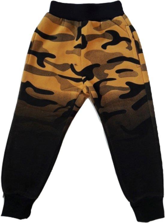 Stoere jongens joggingbroek army geel 98/104
