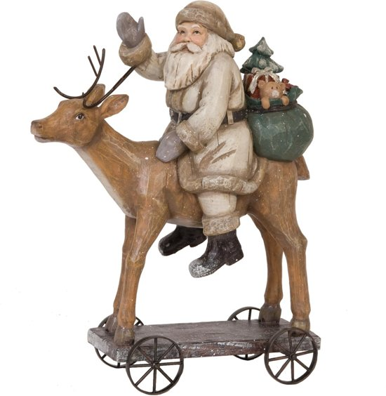 Kerstman op rendier 30 x 24 cm | 6PR0621 | Clayre & Eef
