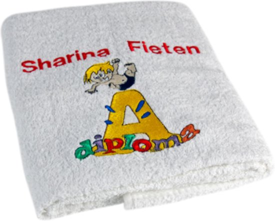 Bedwelming bol.com | geslaagd cadeau zwemdiploma A: leuke badhanddoek met je naam #RA67