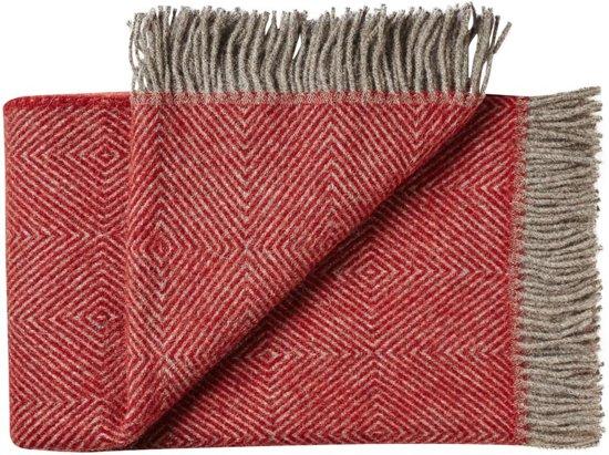 Plaid rood visgraat wol, grote wollen plaid of deken