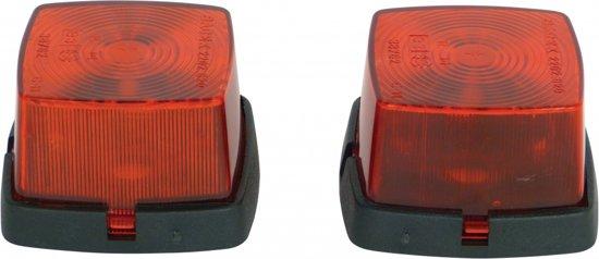 Zijlamp rechthoek rood 63x67mm 2st