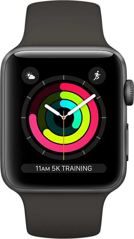 Apple Watch Series 3 - Smartwatch 42mm - Spacegrijs Aluminium / Grijs Sportband
