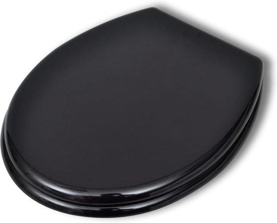 vidaXL Toiletbril met hard-closedeksel 2 st MDF zwart