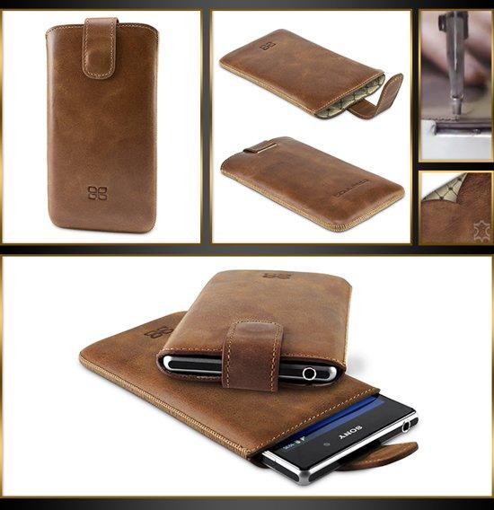 Echt Leer cover - Sony Xperia Z1 hoesje - Lederen Multi Case Bruin - MultiCase (Rustic Brown) in De Pinte