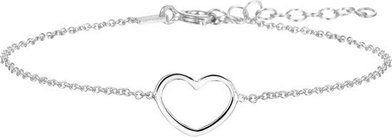 The Jewelry Collection Armband Hart - Dames - Zilverkleurig - 19 cm