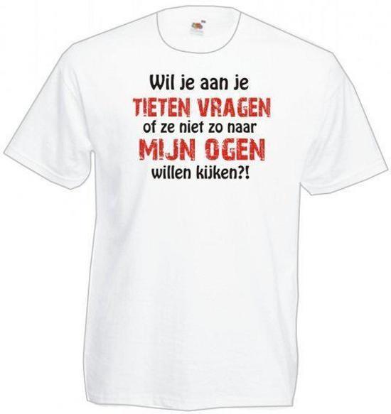 Mijncadeautje Heren T-shirt wit maat XL Wil je aan je tieten vragen....