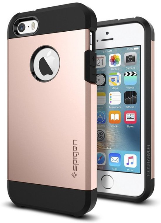 778d0b63b8 bol.com | Spigen Tough Armor for iPhone 5/5s/SE rose gold colored