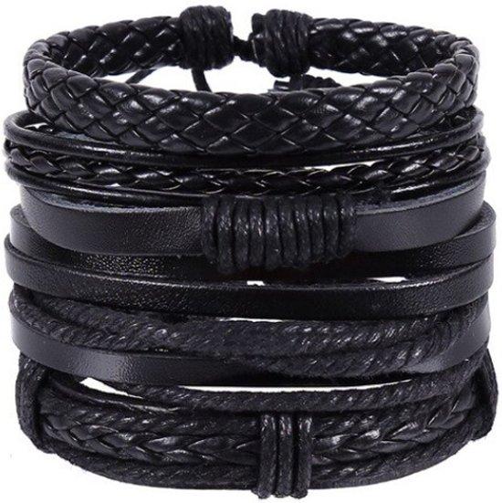 Armbanden set met zwart gevlochten leer en touw