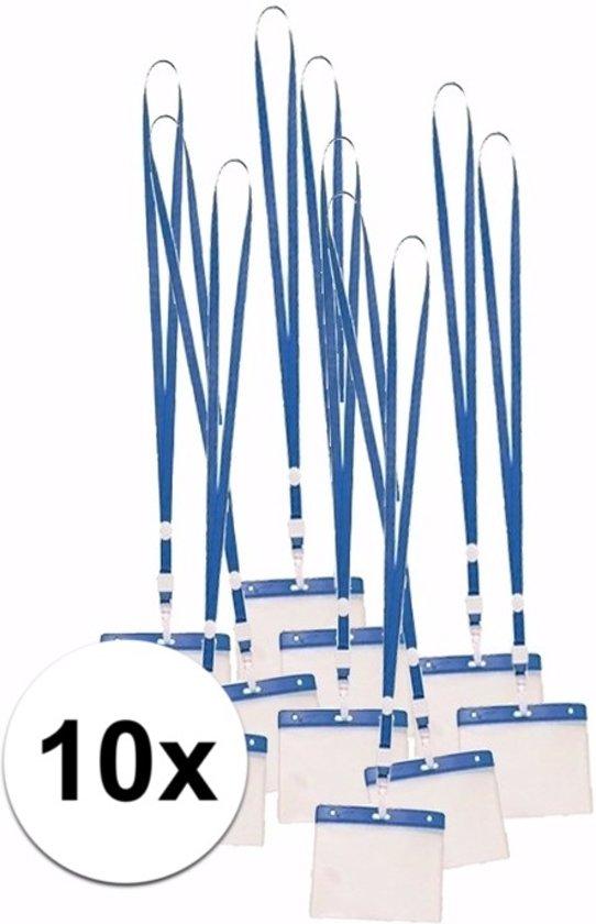 10 x badgehouder met blauw keycord - lanyard naamkaarthouders