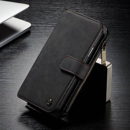 14 vaks 2 in 1 zwarte wallet hoesje iPhone X echt Split leer