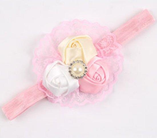 Wit Roze En Crème Bloemetjes Baby Haarband Hoofdband
