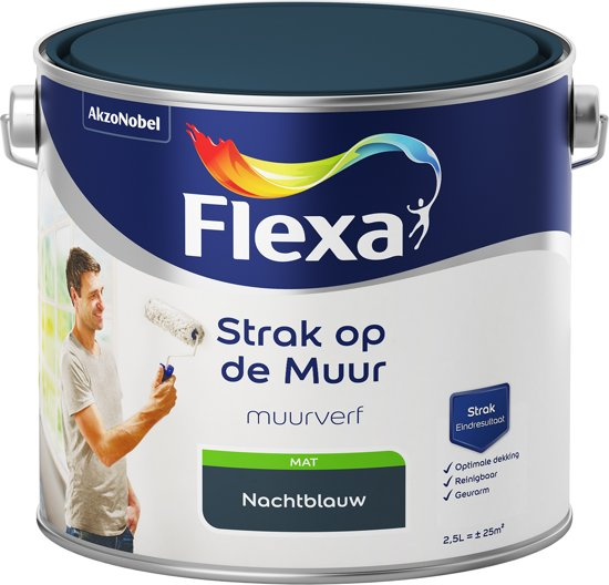 Flexa Strak op de Muur - Watergedragen - Mat - nachtblauw - 2,5 liter