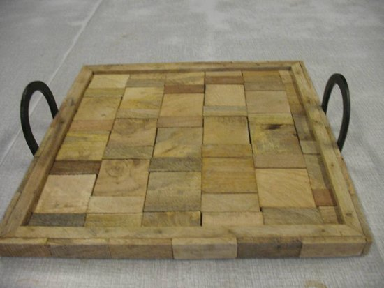 Plateau Chips 40x40cm hout, naturel
