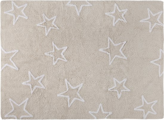 Lorena Canals Vele Sterren 100% katoenen wasbaar vloerkleed. Estrellas - 160x120cm - beige