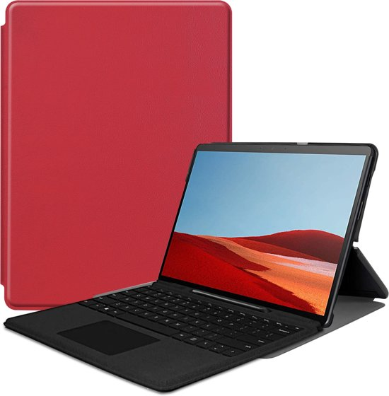 Microsoft Surface Pro X hoes - Tri-Fold Book Case - Rood