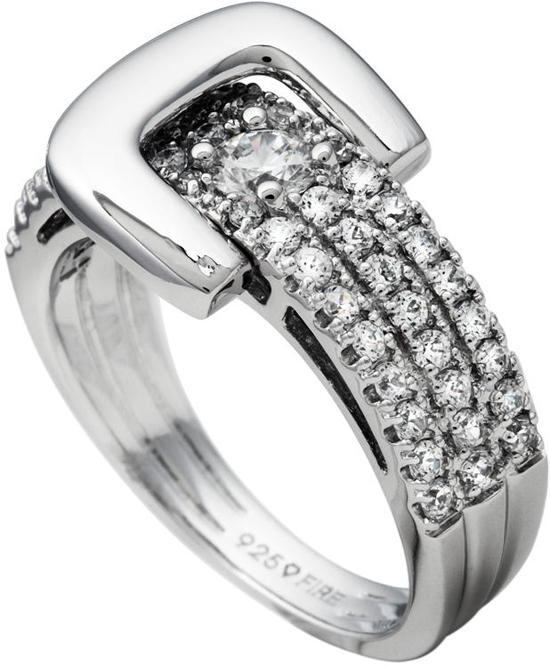 Diamonfire - Zilveren ring met steen Maat 17.5 - Gladde gesp - Pav' bezette band