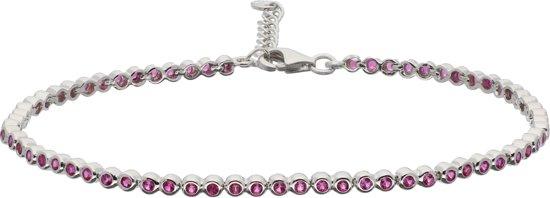 Silver Lining armband - zilver - gerodineerd - rood zirkonia - tennisarmband - 18 + 2.5 cm