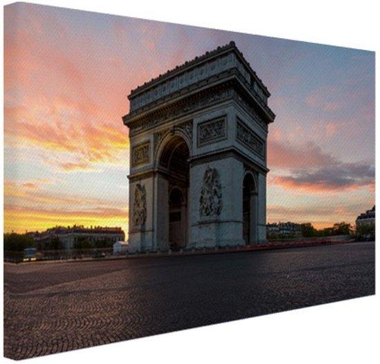 Arc de Triomphe bij zonsopkomst Canvas 30x20 cm - klein - Foto print op Canvas schilderij (Wanddecoratie woonkamer / slaapkamer) / Steden Canvas Schilderijen