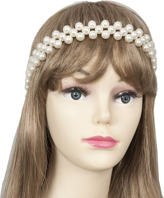 Haarband parel kralen 3-rijen