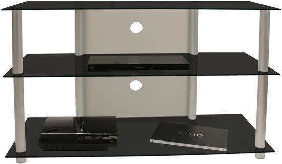 Tv meubel tv kast olopa xxl zwart glas for Tv meubel glas