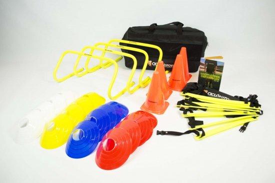 Trainingspakket in Tas - 4 mini horden - Loopladder - Oefeningenboek - 4 Kegels - 20 Pionnen - Ciclón Sports