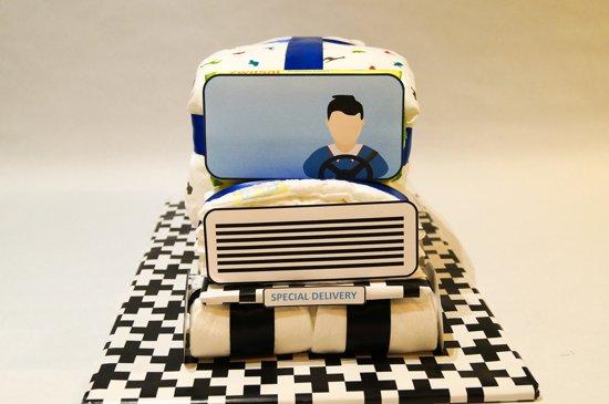 Luiertaart - Pampertaart Jongen Vrachtwagen – 80 Pampers – Blauw