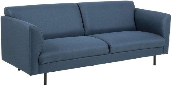 24Designs Levi Bank 3-Zits - Stof Donkerblauw - Zwarte Poten