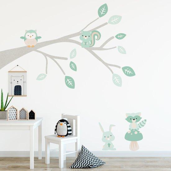 Stickers Op De Muur.Decoratie Stickers Muur Wand Voor Slaapkamer Kinderkamer En Babykamer Muursticker Tak Woodland Mint