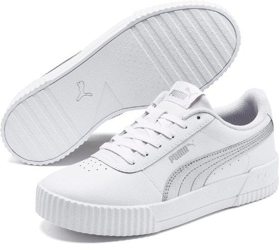 PUMA Carina L Dames Sneakers - Puma White-Puma Silver-Puma White - Maat 37