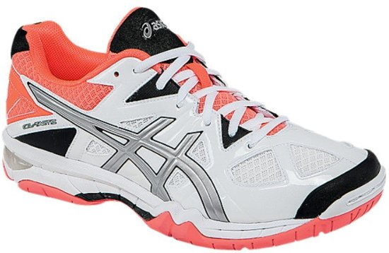 lage prijs verkoop goed 100% kwaliteit Asics Gel Tactic wit neon oranje indoor schoenen dames